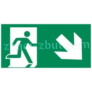 Авариен изход/маршрут за евакуация - надясно и надолу