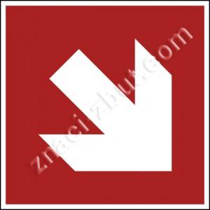 """Посока към пожарогасителните средства - наляво, надясно, нагоре или надолу. Допълнителен информационен знак завъртян на 45""""."""