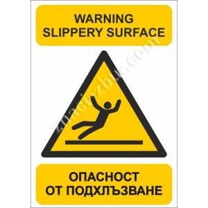 Внимание! Опасност от подхлъзване