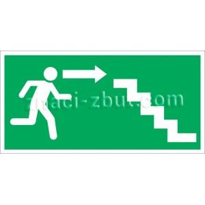 Авариен изход/маршрут за евакуация - надясно и надолу - вариант със стъпала